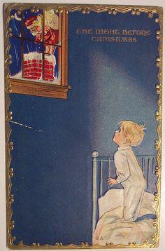"""The Night Before Christmas"" ~ Vintage Postcard Vintage Christmas Images, Antique Christmas, Retro Christmas, Vintage Holiday, Christmas Pictures, Kids Christmas, Xmas, Father Christmas, Christmas Decor"