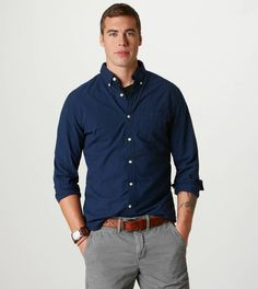 AE Plaid Button-Down in blue goes great with grey pants. @Janet Russell-Snider Eagle Outfitters