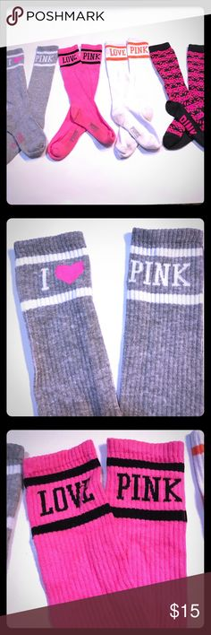 Lot of 4 VS crew socks USED Lot of 4 gently used socks (see photos) VS PINK PINK Victoria's Secret Other