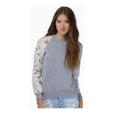 SheIn(sheinside) Grey Floral Crochet Long Sleeve Sweatshirt ($16) ❤ liked on Polyvore featuring tops, hoodies, sweatshirts, grey, long sleeve pullover, cotton sweatshirt, grey pullover sweatshirt, cotton pullovers and floral top