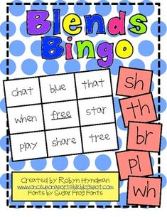 Consonant Blends Bingo! $3 for download. Great for literacy centers! This is a fun, interactive game to help reinforce students' knowledge of consonant blends.