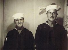 Frank Burch and a buddy taken during World War II.  Both Seabees served in the South Pacific islands.