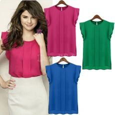 Instyles ladies summer Casual Blouse Candy Color Loose Leisure Chiffon Short Tulip Sleeve Blouse Tops b Clothing Chiffon Ruffle, Chiffon Tops, Chiffon Shirt, Tulip Sleeve, Loose Tops, Work Blouse, Short Sleeve Blouse, T Shirts, Shirt Blouses