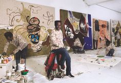 Ouattara Watts met artist Jean-Michel Basquiat in 1988 and at Basquiat's invitation, Watts came to New York City, within a year he had a show at L.A.'s Marilyn Butler Gallery.  via Photo and text by Robert Lakow