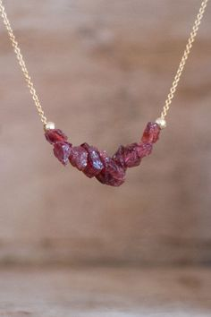Raw Garnet Necklace in Silver or Gold Rough Garnet by AbizaJewelry