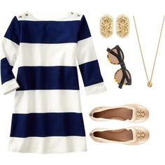 #55 Seeing Stripes by ultimateprep on Polyvore featuring polyvore, fashion, style, Tory Burch, Kendra Scott, Kate Spade, Illesteva and Gap