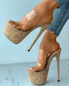 Chic Type, Clear Perspex, Sexy High Heels, Sexy Feet, Cork, Open Toe, Heeled Mules, Stiletto Heels, Looks Great