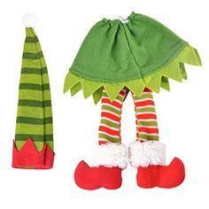 Hoomall 1PC Housse de Vin Couverture Bouteille de Vin Lutin Noël Rayure: Taille : 20.5cmx5cm 23cmx18cm Idéal pour la décoration de Noël ou…