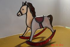 Red Saddled Stained Glass Rocking Horse
