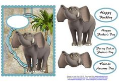 - This is a male topper card with an elephant on it and some easy decoupage. It is certainly a quick card to make. 3d Sheets, Quick Cards, Happy Fathers Day, Hobbies And Crafts, Are You The One, Decoupage, Card Making, Elephant, Happy Birthday