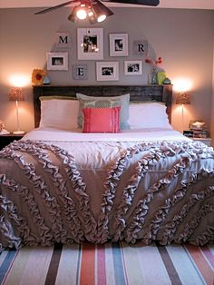 Introductions: The Ruffle Duvet. So easy using $5.00 walmart beige dropcloths!