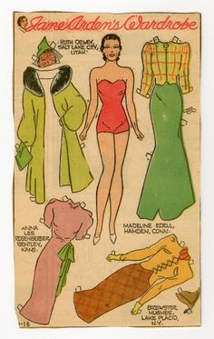 "Jane Arden's Wardrobe | paper doll*1500 free paper dolls at Arielle Gabriel""s The International Paper Doll Society and free Chinese Japanese paper dolls at The China Adventures of Arielle Gabriel *"