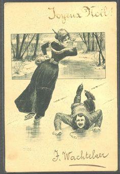 PU143 ART NOUVEAU WINTER SPORTS COUPLE ICE SKATING Fine LITHO 1903