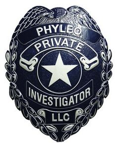 Phyleo Private Investigator Badge carved into a plaque. Starts at $97.95