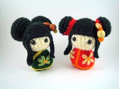 Crocheted kokeshi dolls