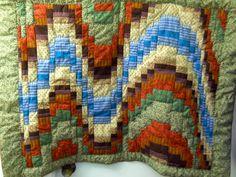 Lap Quilt Hand Created USA Bargello Wave Nature Pattern 42 X 30 Machine Pieced