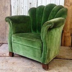 Vintage French Art Deco Armchair - The Hoarde - . - Vintage French Art Deco Armchair – The Hoarde – … – Lois - Art Deco Furniture, Green Velvet Armchair, Decor, House Interior, Interior Deco, Deco Furniture, Home, Interior, Art Deco Interior