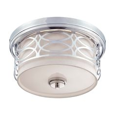 $120 Nuvo Lighting Modern Flushmount Light with Grey Cage Shade in Polished Nickel Finish | 60/4627 | Destination Lighting