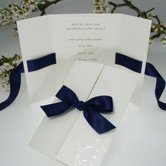 Verona Navy Blue Wedding Invitations/menu card idea for dinner party Wedding Paper, Wedding Cards, Diy Wedding, Dream Wedding, Wedding Day, Trendy Wedding, Wedding Venues, Ribbon Wedding, Party Wedding