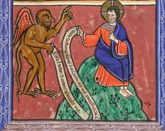Detail of a miniature of the Third Temptation of Christ.