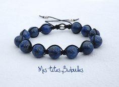 Lapis Lazuli Bracelet Coton Noir Style Shamballa Tibétain Homme