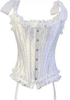 White Tie Strap Burlesque Corset Bustier