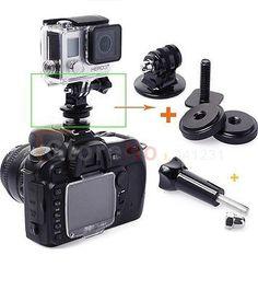 "Free shipping 3pcs/1set 1/4"" Hot Shoe Adaptor with Gopro Tripod Mount Screws for Camera GoPro Hero 2 3 3+ #Affiliate"