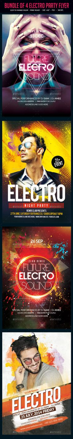 Bundle of 4 Electro Party Flyer