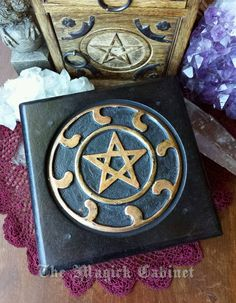 Wooden Altar Table with Pentacle, Witch's table, Altar, Wooden Altar, Pagan, Witch, Wicca Supplies, Spiritual Supplies, $19.98