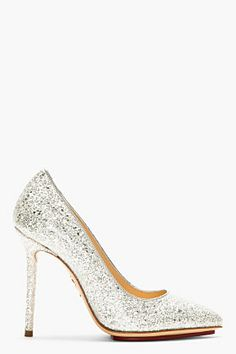 Charlotte Olympia Silver Glitter Pointed Monroe Pumps for women | SSENSE