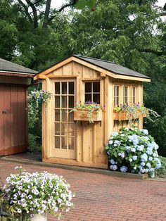 Quick and Easy to build fast. Construct a cute garden shed in a weekend. Prefab wall panels go up quickly, and doors and windows slip into precut openings. Dress it up with hanging baskets suspended from beams and window boxes overflowing with flowers. Small but very useful in the garden.