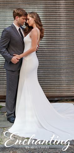 Sleeveless crepe trumpet bridal gown features lace and pearl trimmed bateau neckline, princess seamed bodice, covered buttons along zipper back to hem, chapel train. Sheath Wedding Gown, Wedding Dress Cake, Disney Wedding Dresses, Wedding Dresses With Straps, Sweetheart Wedding Dress, Country Wedding Dresses, Wedding Dresses Plus Size, Modest Wedding Dresses, Colored Wedding Dresses