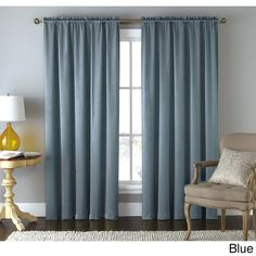 Artistic Linen 'Lydia' Solid-colored Rod Pocket Window Curtain Panel (Blue), Size 84 Inches (Polyester, Geometric)