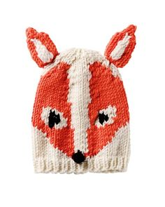 You will need: A 50 g white yarn, Orange and black Merino, 50 g); Circular knitting needles No. Baby Hat Knitting Patterns Free, Free Knitting, Baby Knitting, Crochet Patterns, Free Pattern, Crochet Bunny, Knit Or Crochet, Crochet Hats, Fox Hat