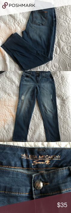 Seven7 -Melissa McCarthy jeans - Girlfriend 14w Melissa McCarthy seven7 brand. Distressed 14w lighter blue jean.  Girlfriend fit. Like new . No stains/ tares . Open to offers Melissa McCarthy Seven7 Jeans