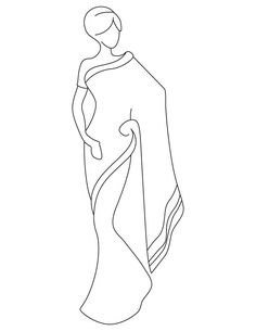Saree coloring pages Easy Drawing Images, Easy Drawings, Fashion Design Drawings, Fashion Sketches, Dress Sketches, Saris, Phad Painting, Indian Drawing, Canvas Art Projects