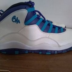 05085450959 Nike Air Jordan Retro X 10 White Purple Green Charlotte Hornets colorway Basketball  Shoes Size 10.5