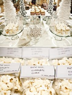 Winter Shimmer Naughty & Nice Dessert Table by Mia of Platinum Events & Productions, via Hostess with the Mostess