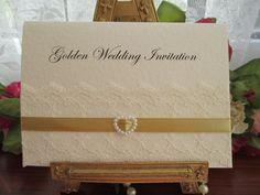 GOLD0001 A6 IVORY GOLDEN WEDDING ANNIVERSARY INVITATION Available from www.vintagelaceweddingcards.co.uk