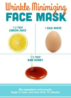 Acne Face Mask Recipes Wrinkle Minimizing DIY Face Mask with Egg White, Lemon Juice and Honey - How To Get Rid of Wrinkles – 13 Homemade Anti Aging Remedies To Reduce Wrinkles and Look Younger. Homemade Face Mask With Honey Face Scrub Homemade, Homemade Face Masks, Homemade Skin Care, Homemade Facials, Homemade Beauty, Creme Anti Age, Anti Aging Cream, Anti Aging Skin Care, Anti Aging Mask