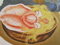Thumbelina from vintage Little Golden Book. Illustration by Gustaf Tenggren, ca. 1953.