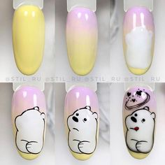Cartoon Nail Designs, Girls Nail Designs, Black Nail Designs, Nail Art Designs, Matte Pink Nails, Subtle Nails, Funky Nails, Yellow Nails, Halloween Acrylic Nails