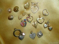 Vintage Valentine Puffy Heart Charm Earring Pinback Pendant Collection Lot 114F