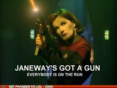 I love Captain Janeway. She's right up there with Picard in my book.   Aerosmith meets Star Trek: Voyager