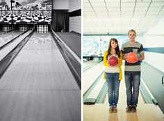 Bowling alley engagement photos - would love to do a shoot like this one day.
