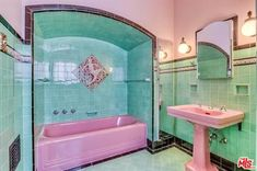 The property 4426 Cromwell Ave, Los Angeles, CA 90027 is currently not for sale on Zillow. View details, sales history and Zestimate data for this property on Zillow. 50s Bathroom, Art Deco Bathroom, Vintage Bathrooms, Tiled Bathrooms, My Pool, Vintage Room, Aesthetic Rooms, Retro Home, House Rooms