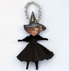 vintage style chenille witch ornaments for Halloween