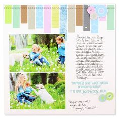 """Scraps... go to your scrap stash and pull out about 4-5 scraps. From those scrap pieces, cut several pieces to measure 3/4"""" wide by varied lengths! Adhere them to your layout along the top edge of your page (in this case-White Cardstock)."""