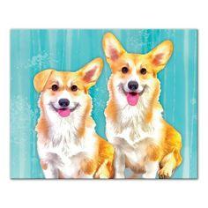 16 in. x 20 in. ''Corgi Dog Pals'' Printed Canvas Wall Art