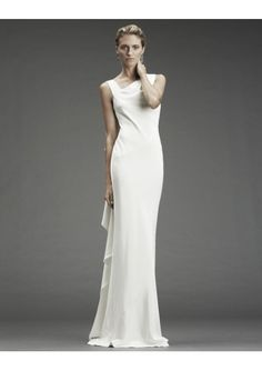 Wedding dress online shop - Satin Sleeveless Asymmetrical Neckline with back Ruffle Cowl back Sheath Fitted Skirt Hot Sell Wedding Dress WD-1365